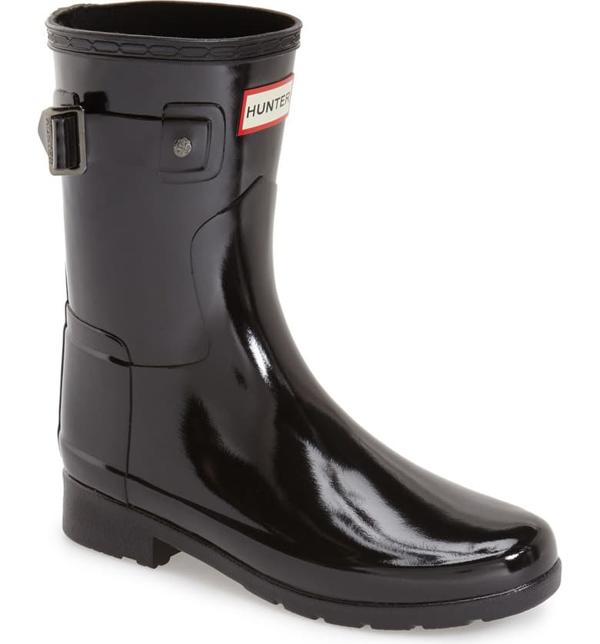 Hunter Original Short Gloss Waterproof Rain Boot In Black