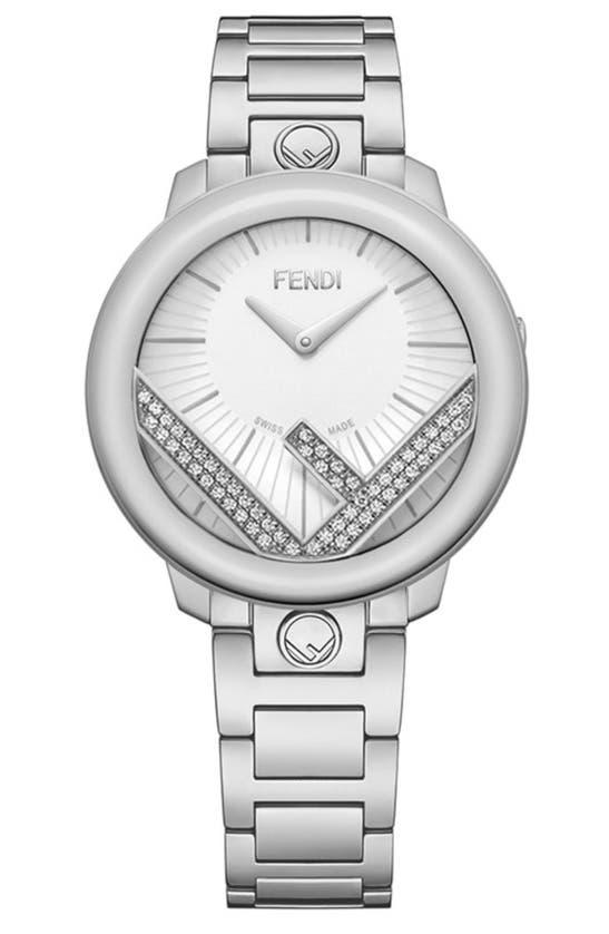 Fendi Runway Diamond Bracelet Watch, 36mm In Silver/ Opalin