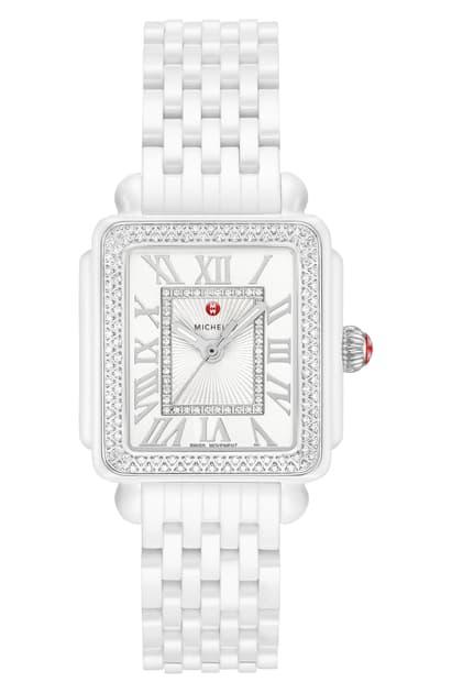Michele Deco Madison Mid Diamond Watch Head & Ceramic Bracelet, 29mm In White/silver / Sunray