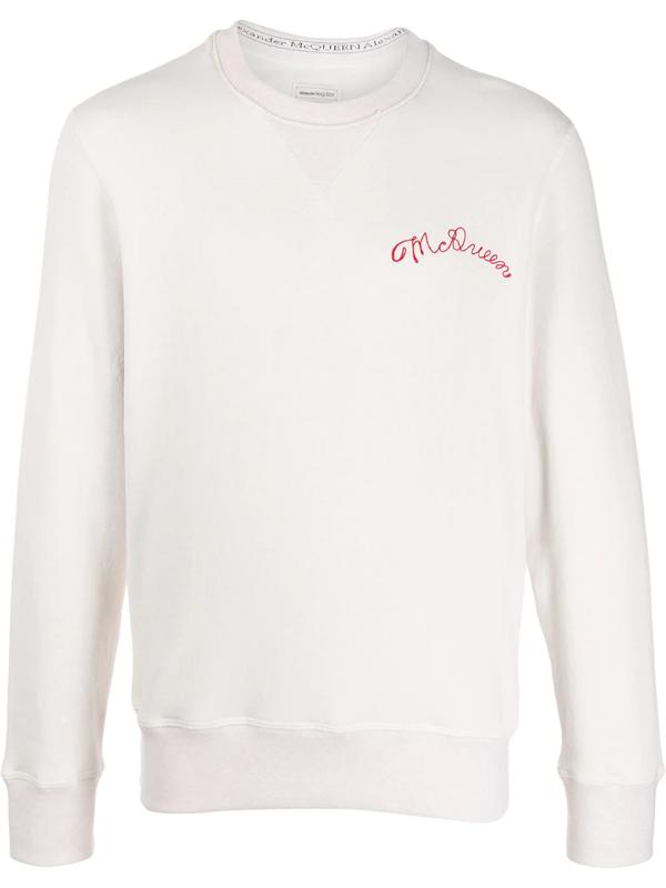 Alexander Mcqueen Embroidered Logo Sweatshirt In White