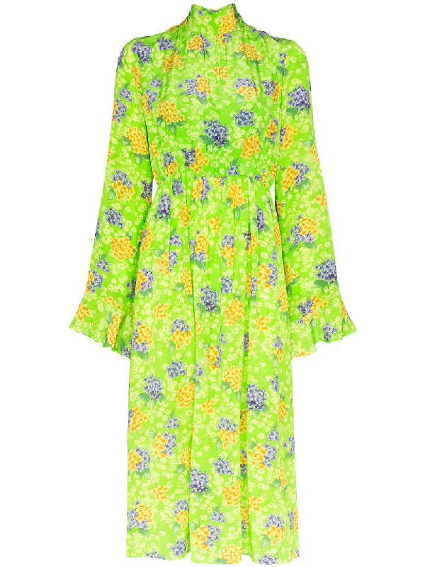 Les Rêveries Ruffle Cuff Floral Silk Long Sleeve Midi Dress In Green