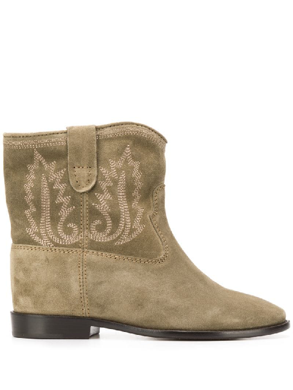 Isabel Marant Crisi Low Heels Ankle Boots In Taupe Suede In Green