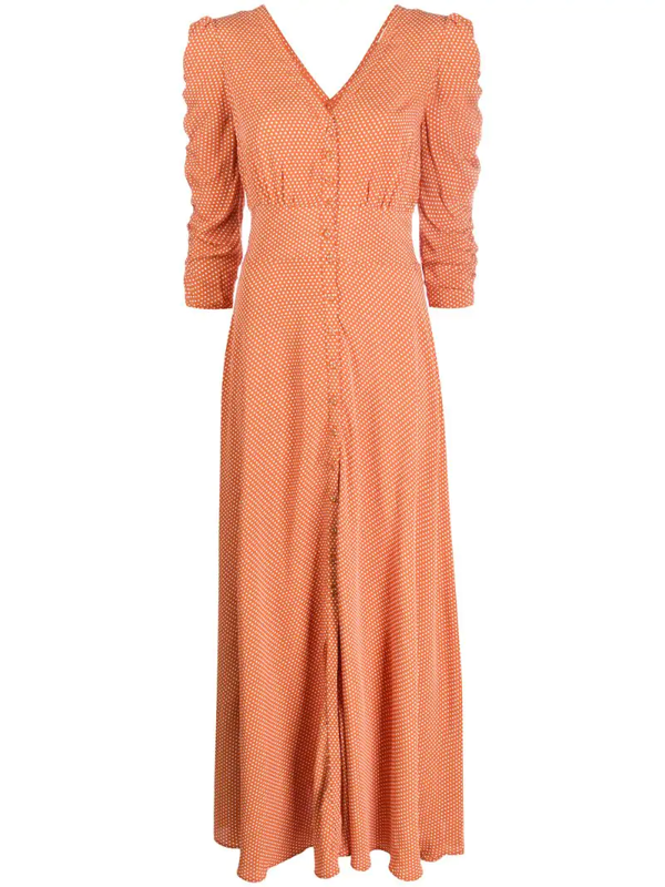 Bytimo Ruched Polka Dot Crepe Maxi Dress In Brown