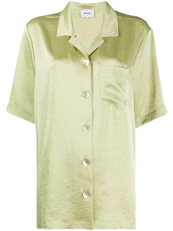 Nanushka Ella Oversize Satin Camp Shirt In Green