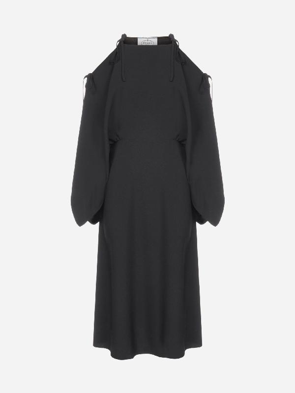 Prada Cold-shoulder Midi Dress In Black