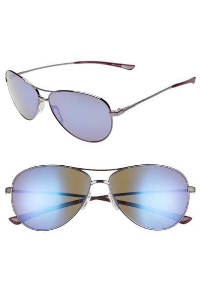 Smith 'langley' 60mm Aviator Sunglasses In Ruthenium/ Violet