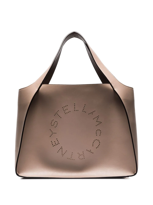 Stella Mccartney Beige Perforated Logo Faux Leather Tote Bag In Pink