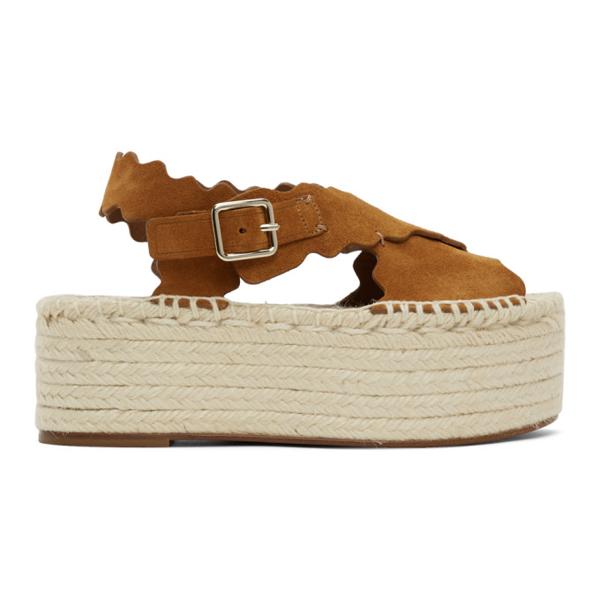 Chloé Tan Suede Espadrilles Platform Sandals In 243 Natural
