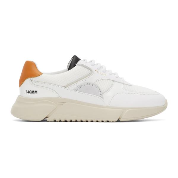 Axel Arigato Men's Genesis Triple Mix Media Leather Platform Sneakers In Orangeblkne
