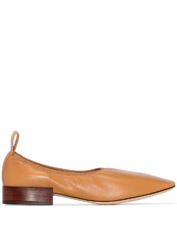 Loewe Soft Leather Ballerina Flats In Brown