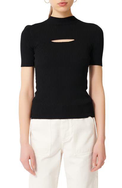 Maje Mouth Cut-out Ribbed Sweater In Black