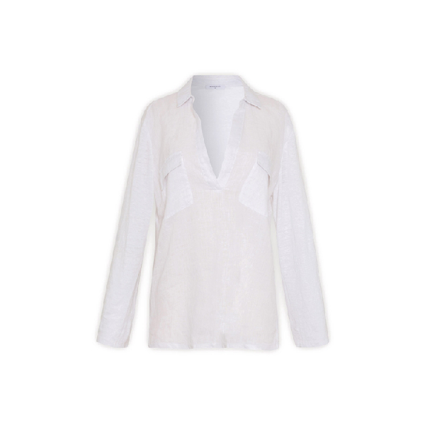 Gerard Darel Linen Shirt With Pockets In Blanc