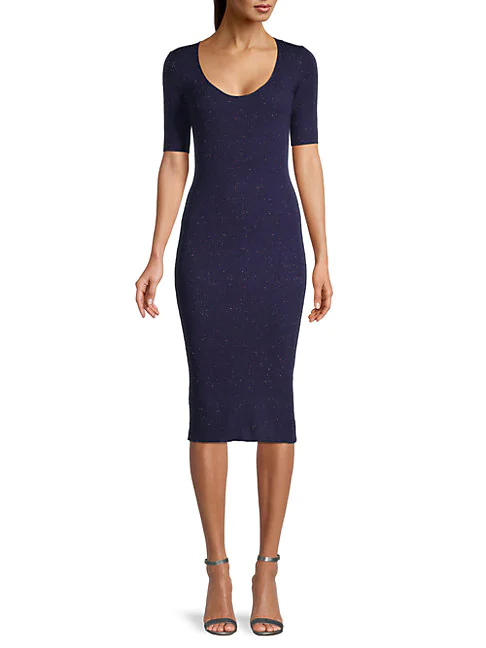 Cupcakes And Cashmere Corazon Rib-knit Bodycon Dress In Ink