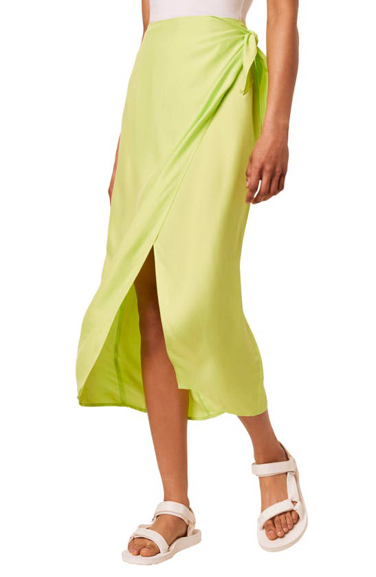 French Connection Gabina Draped Sarong Midi Skirt In Lime Punch