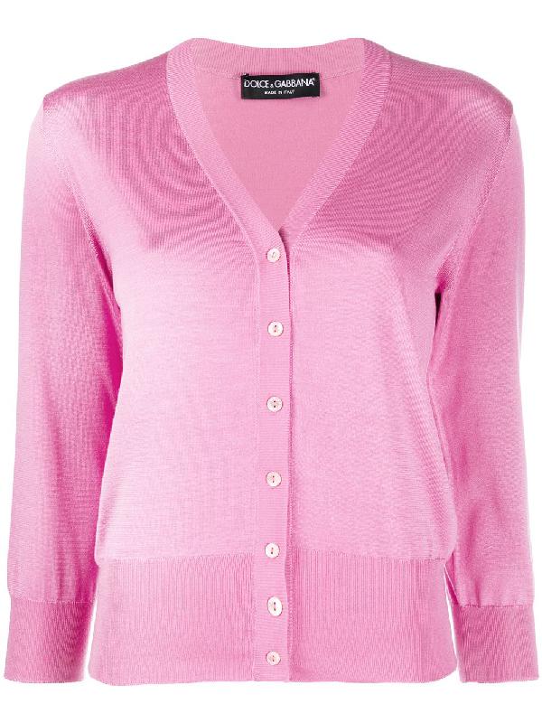 Dolce & Gabbana Lightweight Knit Cardigan In Pink