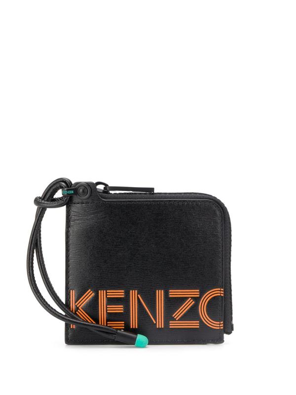Kenzo Leather Strap Logo Wallet In Black