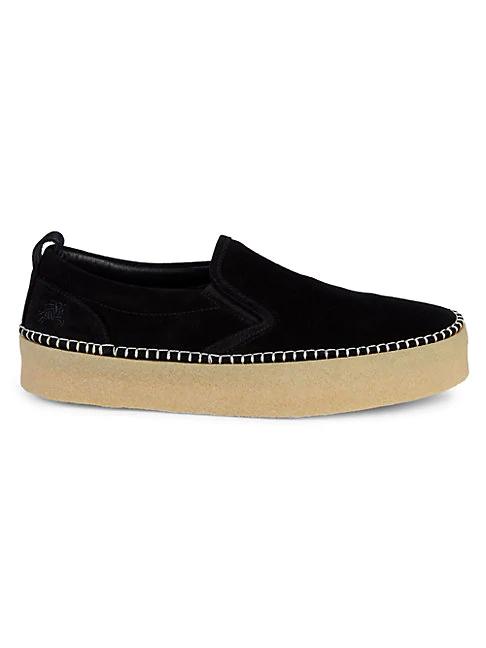 Burberry Sudbury Suede Platform Loafers In Black