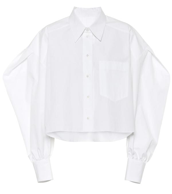 Valentino Oversized Cotton Poplin Crop Shrt In White