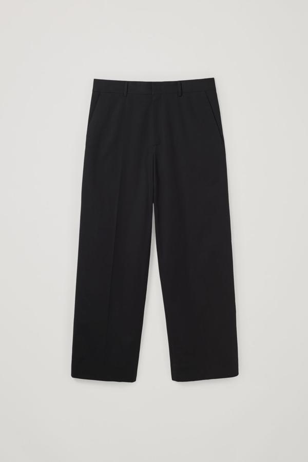 Cos Long Wide-leg Cotton Mix Pants In Black