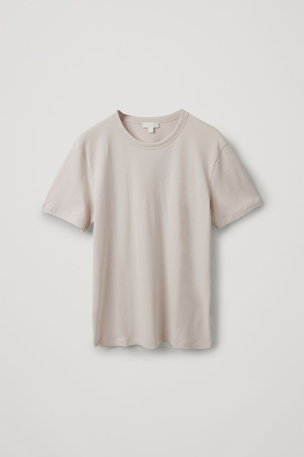 Cos Straight-fit T-shirt In Beige