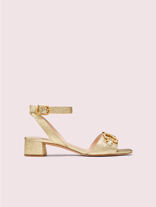 Kate Spade Lagoon Heart Chain Metallic Leather Sandals In Pale Gold