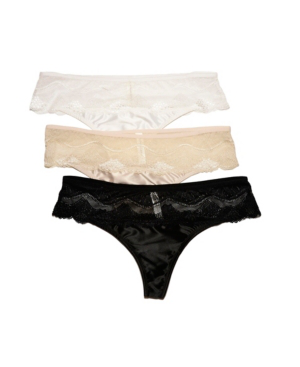 Bcbgmaxazria 3 Pack Satin With Lace Hipster Thong Underwear In Multi