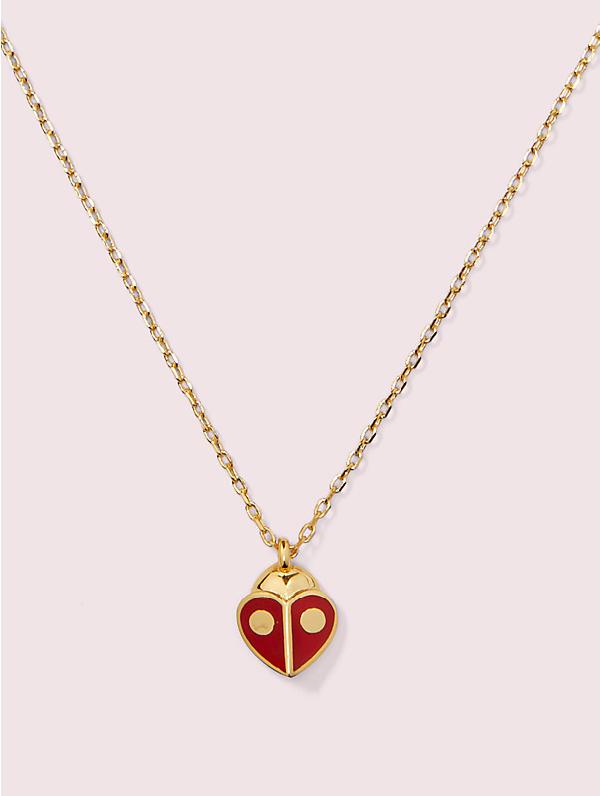 "Kate Spade Gold-tone Red Ladybug Mini Pendant Necklace, 16"" + 3"" Extender"
