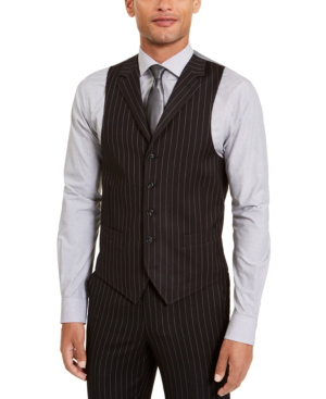 Sean John Men's Classic-fit Stretch Black Pinstripe Suit Separate Vest