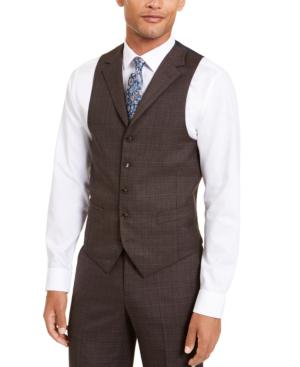 Sean John Men's Classic-fit Stretch Brown Neat Suit Separate Vest