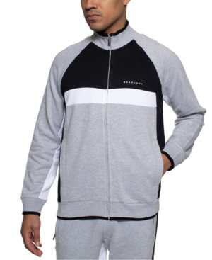 Sean John Men's Colorblocked Track Jacket In Athletic Grey Htr