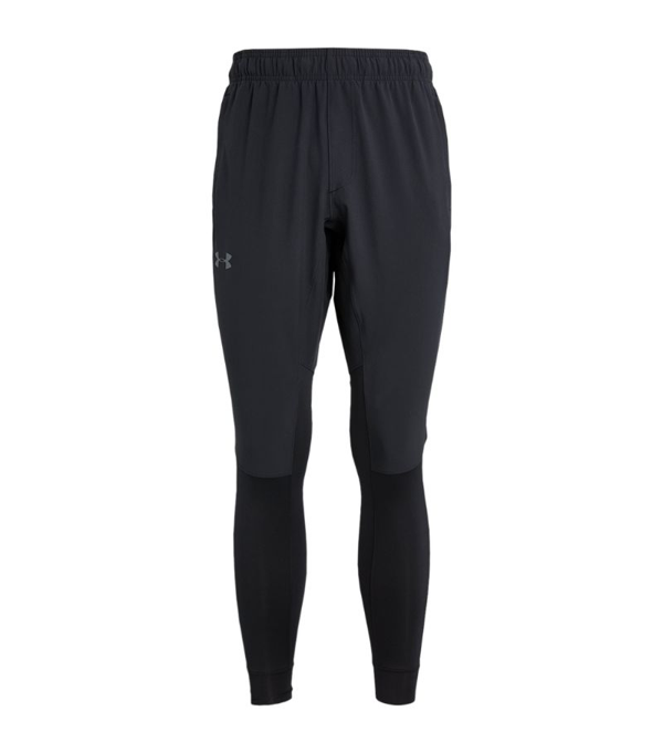 Under Armour Hybrid Slim-fit Stretch-jersey Trousers In Black