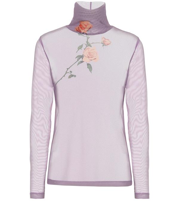 Dries Van Noten Floral Mesh Turtleneck Top In Purple
