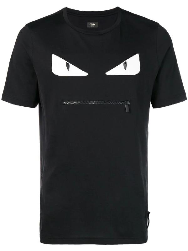 70903a815 Fendi Black-White Bag Bugs Cotton Jersey T-Shirt In A1Bx F0Qa1 ...