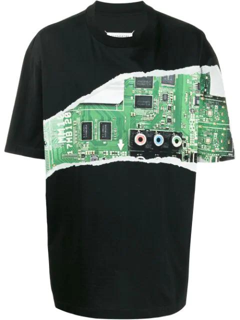 Maison Margiela Graphic-print Cotton-jersey T-shirt In Black
