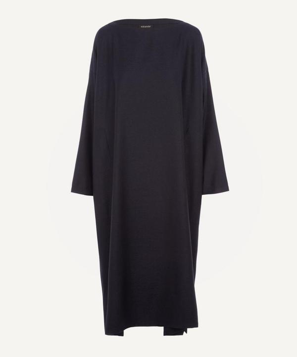 Eskandar Wide A-line Boat-neck Dress In Navy