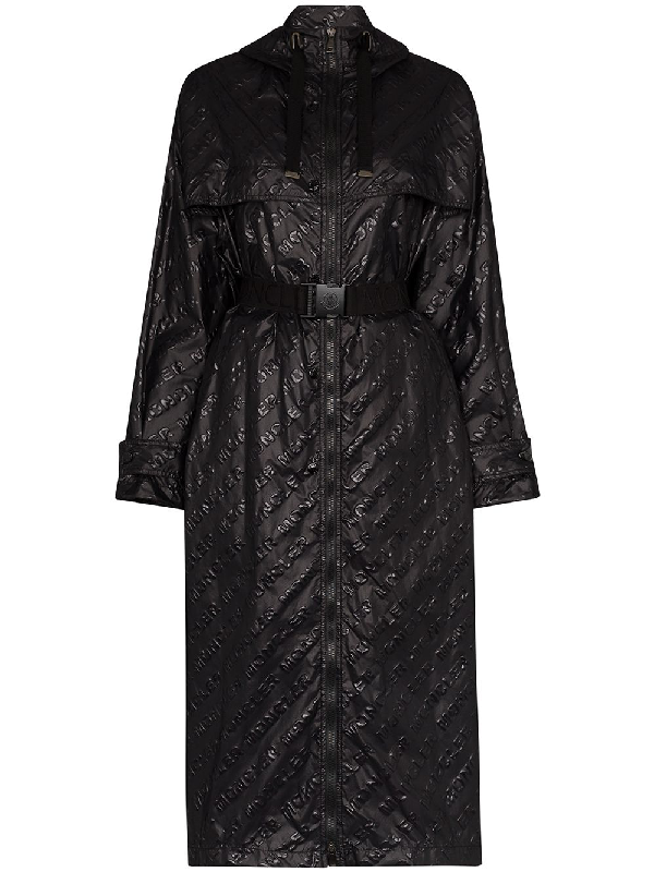 Moncler Bouteille Embossed Nylon Trench Coat In Black