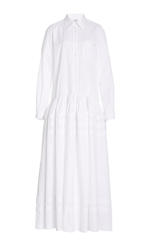 Rosie Assoulin Pleated Tiered Cotton-poplin Maxi Dress In White