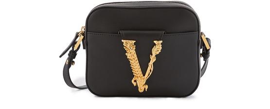 Versace Virtus Leather Camera Bag In Nero Oro Tribute