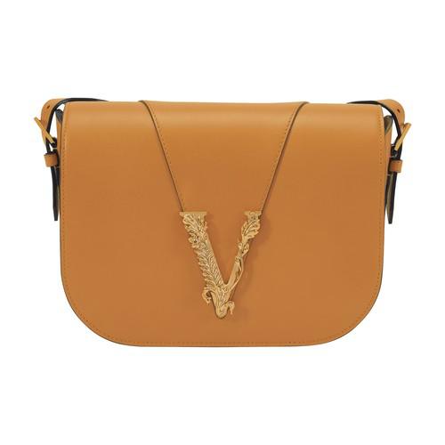 Versace Virtus Leather Saddle Bag In Oud-oro Tibute