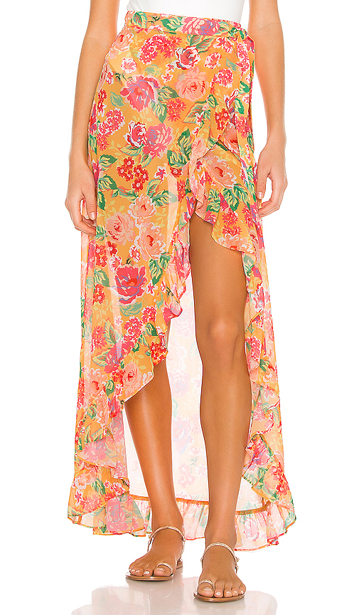 Lovers & Friends Waves For Days Wrap Skirt In Tangerine Floral
