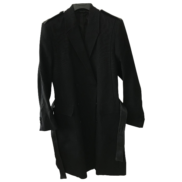 Mugler Black Leather Coat