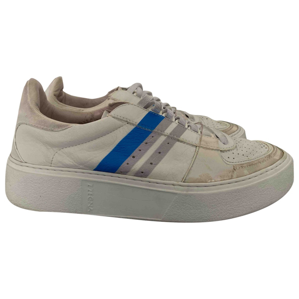 Pre-owned Z Zegna White Leather Trainers