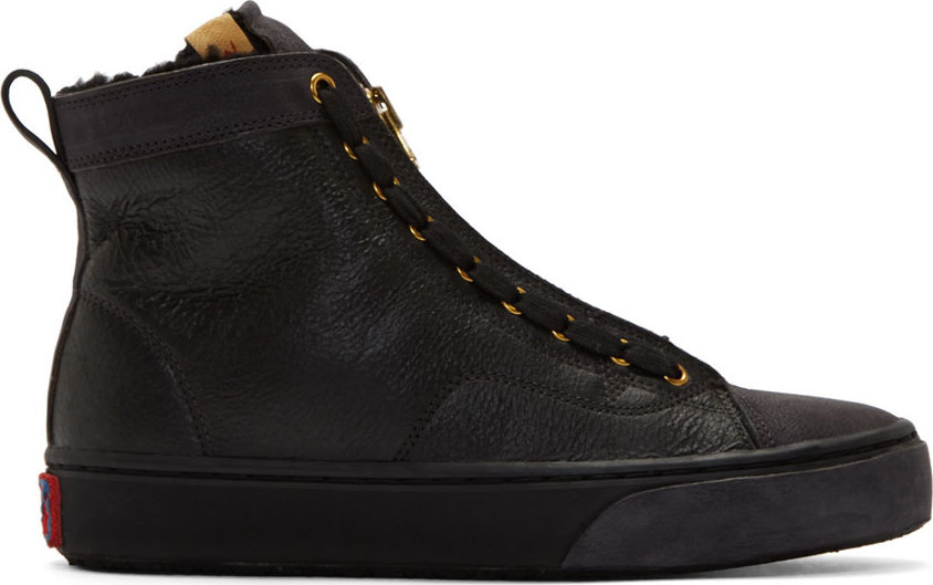 Visvim Black Leather Skagway Hi-Folk Sneakers