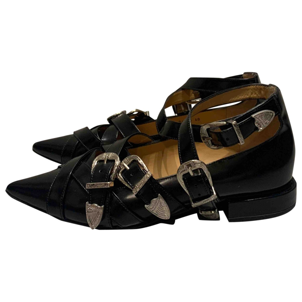 Pre-owned Toga Black Leather Flats