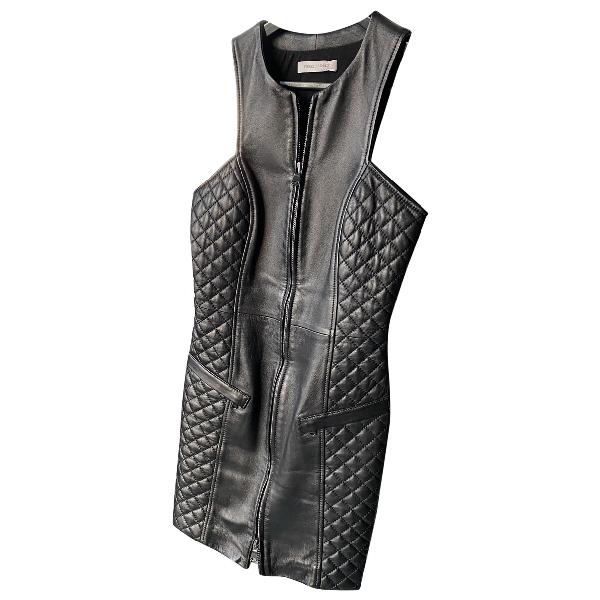 Pierre Balmain Black Leather Dress