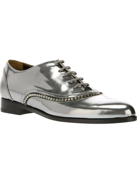 Lanvin Patent Leather Lace Up Shoe In Silver