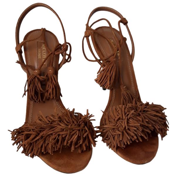 Aquazzura Wild Thing Brown Suede Sandals