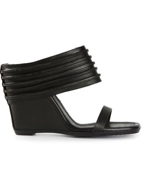 Rick Owens Black Ribbed Leather Ruhlmann Wedge Sandals