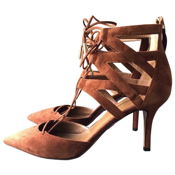 Aquazzura Belgravia Brown Suede Sandals