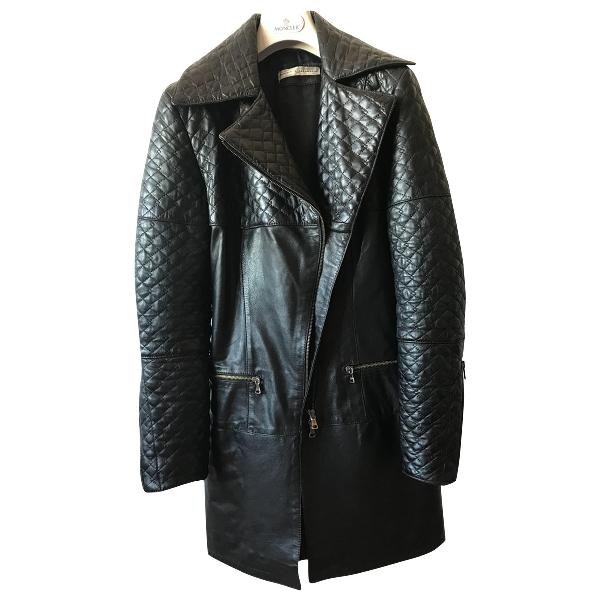 Daniele Alessandrini Black Leather Leather Jacket